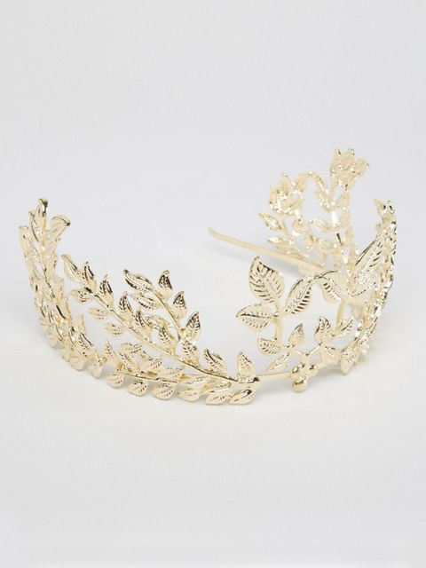 "<p>Leaf crown, £18, <a href=""http://www.asos.com/ASOS/ASOS-Statement-Leaf-Hair-Crown/Prod/pgeproduct.aspx?iid=6075863&cid=6992&sh=0&pge=0&pgesize=36&sort=-1&clr=Gold&totalstyles=582&gridsize=3"" target=""_blank"">ASOS</a"