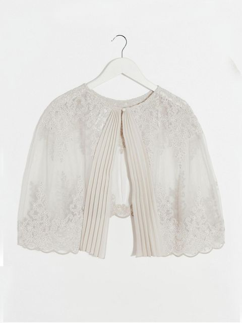 "<p>Lace cape, £40, <a href=""http://www.asos.com/asos/asos-premium-wedding-lace-and-pleat-back-cape/prod/pgeproduct.aspx?iid=6020031&clr=Lightgrey&SearchQuery=cape+wedding&pgesize=33&pge=0&totalstyles=33&gridsize=3&gridrow=1&gridcolumn=1"" target=""_blank"">A"