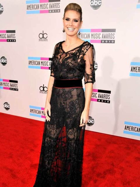 """<p><a href=""""http://www.elleuk.com/starstyle/style-files/%28section%29/heidi-klum/%28offset%29/0/%28img%29/679105"""">Heidi Klum</a> stands out in sheer lace at the American Music Awards in Los Angeles, 21 November 2010</p>"""