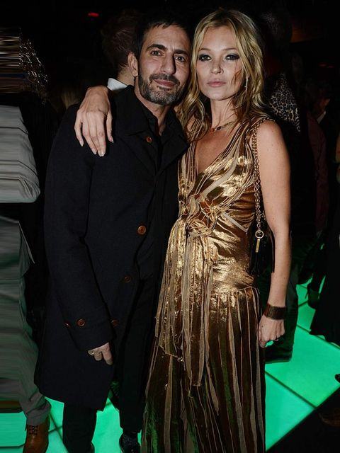 <p>Marc Jacobs and Kate Moss, in a gold Marc Jacobs dress, at the 'Kate Moss' book launch after party, London.</p>