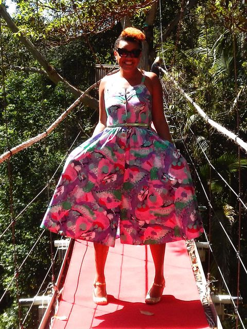 <p>Gemma wears Found East London dress and Schuh shoes.</p>