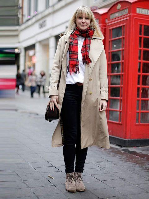<p>Claire, 29, Designer. Vintage Burberry coat, Uniqlo shirt, Topshop jeans and bag, M&amp&#x3B;S shoes, vintage scarf.</p>