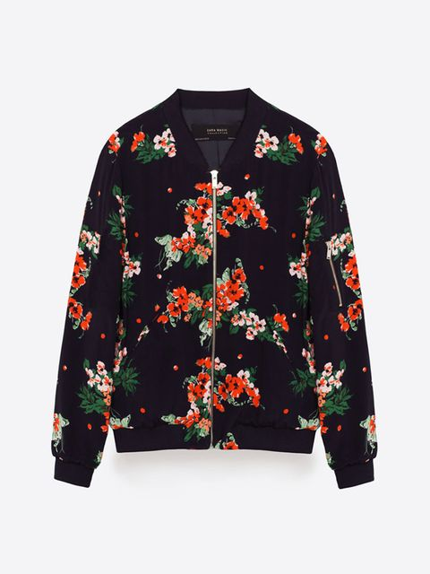 "<p>Bomber jacket, £29.99, <a href=""http://www.zara.com/uk/en/new-in/woman/collection/printed-bomber-jacket-c811529p3579008.html"" target=""_blank"">Zara</a><br />  </p>"