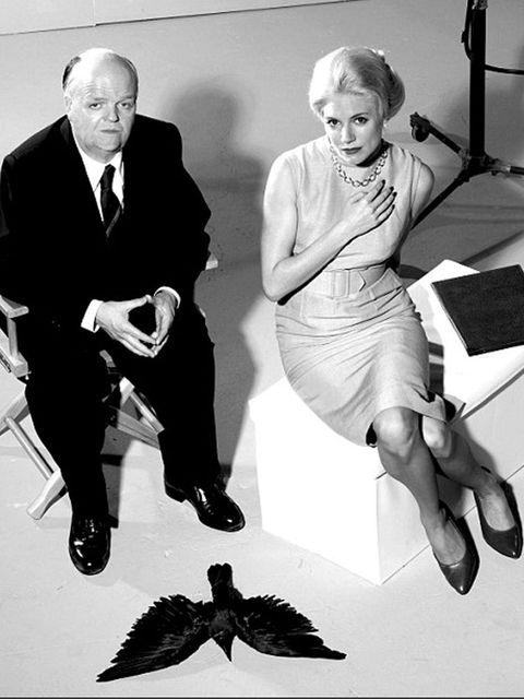 <p>Miller as Tippi Hedren with Toby Jones as Alfred Hitchcock in The Girl</p>