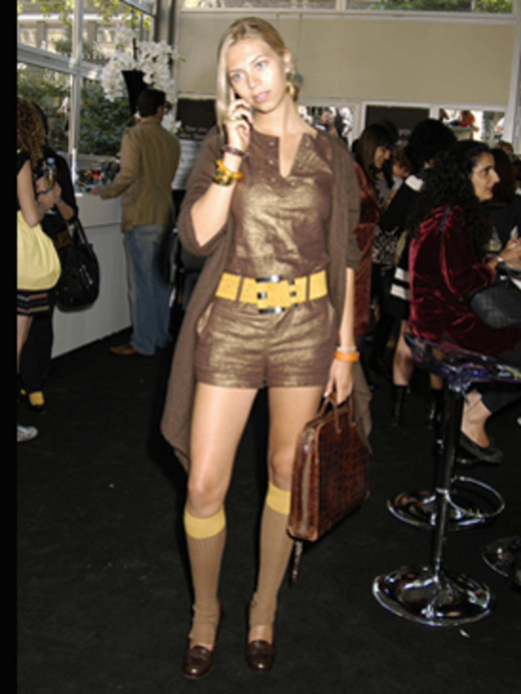 <p>Metallic playsuit, chunky knit, waist cinching belt and knee high socks - so on trend, we love it.</p>