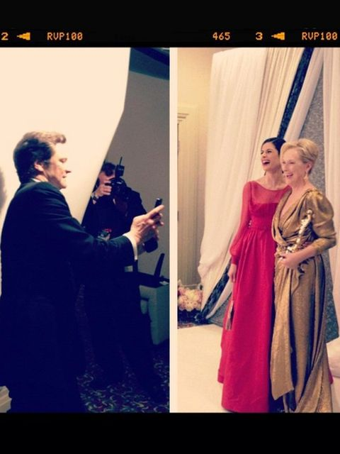 <p>Colin Firth snapping Livia and Meryl at the Oscars</p>