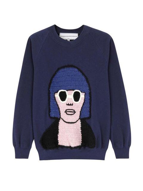 "<p>Knitwear's never looked so cool.</p>  <p>Michaela Buerger jumper, £280 at <a href=""http://www.harveynichols.com/97042-nina-blue-jersey-sweatshirt/"" target=""_blank"">Harvey Nichols</a></p>"