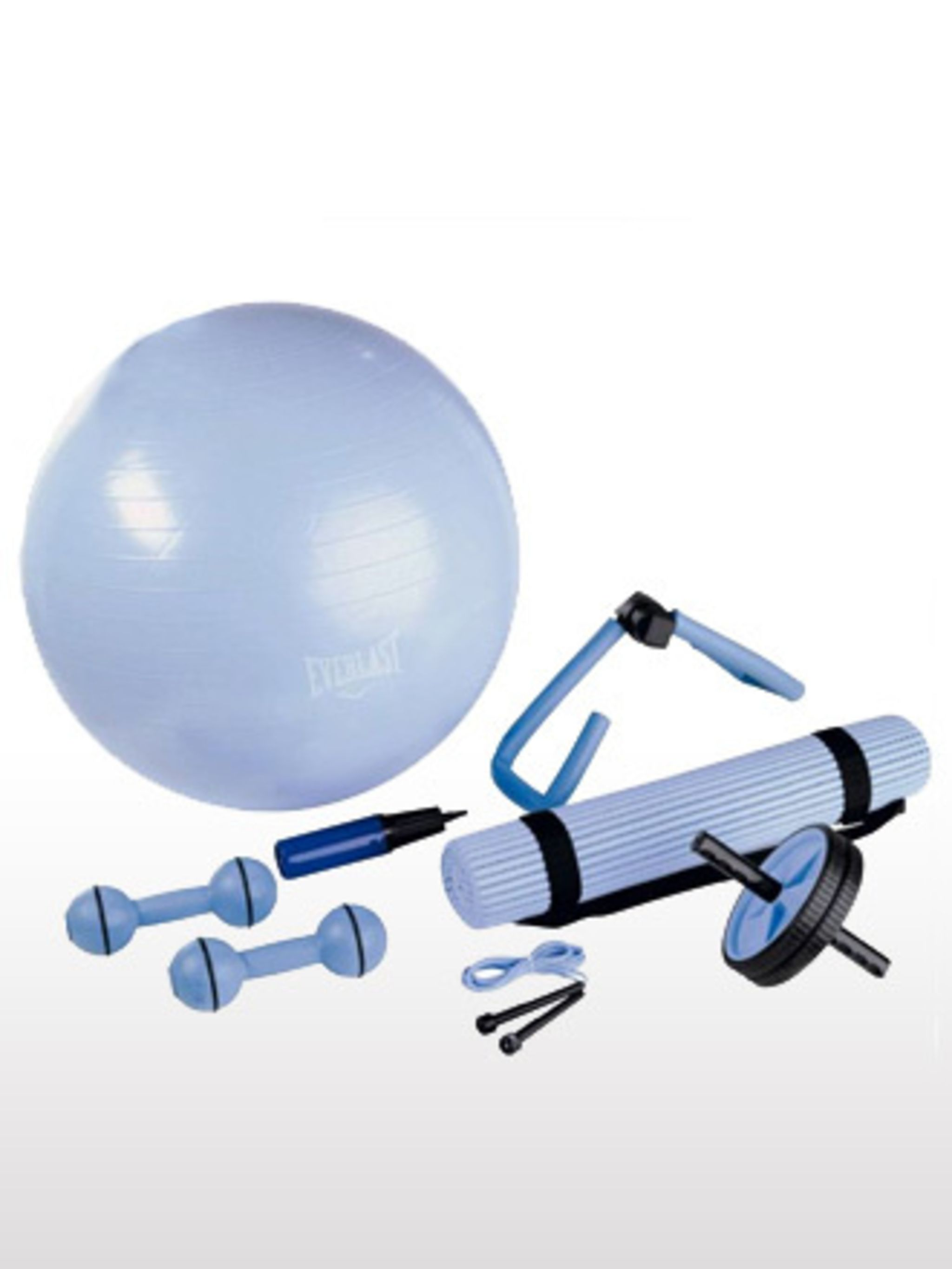 <p>The easiest way to fail at a new fitness regime is to set yourself a goal that is too tough to meet. Create a mini gym at home with Everlast's Workout Set. This way if you can't face going all the way to the gym (like you promised you would), you'll be