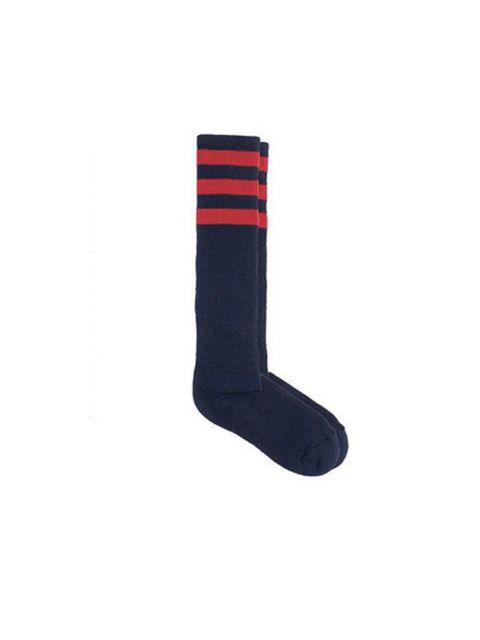 "<p><a href=""http://store.americanapparel.co.uk/stripe-knee-high-sock_rsaskl"">Americal Apparel</a> socks, £8</p>"