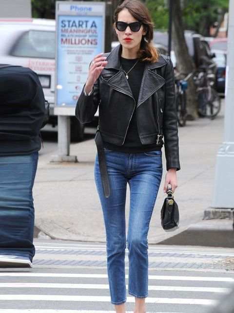 "<p><a href=""http://www.elleuk.com/star-style/celebrity-style-files/alexa-chung"">Alexa Chung</a> nailing New York style with a leather biker jacket, cropped jeans and cool black sunglasses</p>"