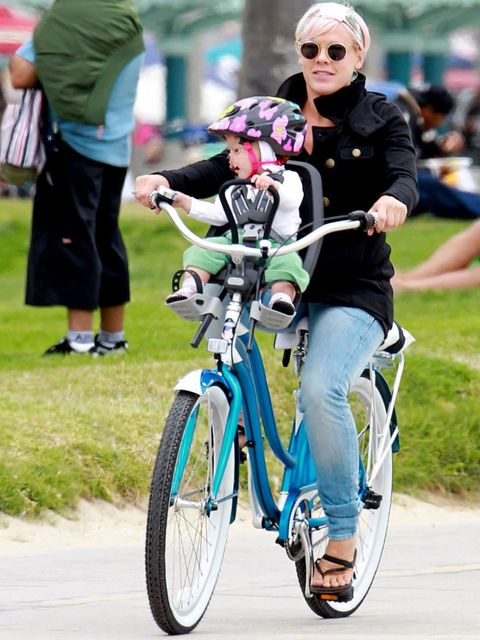 <p>Pink riding in Los Angeles with her daughter Willow Sage, May 2012</p>