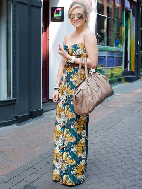 <p>Sophie Titley, 18, Law Student. Primark jumpsuit and belt, vintage shoes, Ray Ban sunglasses, River Island bag.</p><p>Photo by Kirstin Sinclair</p>