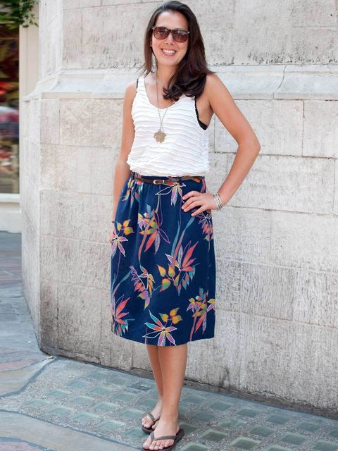 <p>Awon Golding, 31, Milliner. Topshop top, skirt from Hong Kong, Havaianas flip-flops, Asos sunglasses, Pedder Red necklace.</p><p>Photo by Kirstin Sinclair</p>