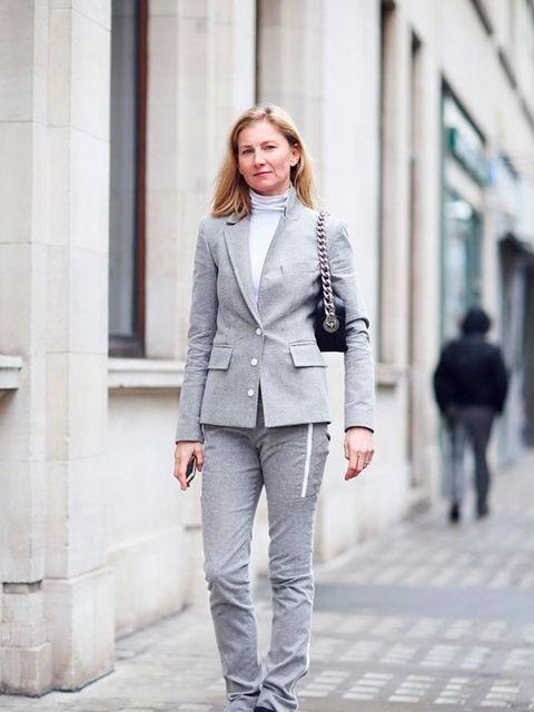 <p>Elizabeth Von Guttman</p>  <p>Paco Rabanne suit, Prada bag, Nike trainers</p>