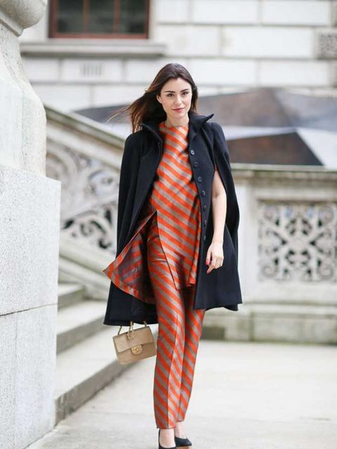 <p>Lise Grendene</p>  <p>Lucas Nascimento top and trousers, Chanel bag, Alexander McQueen coat and AllSaints shoes.</p>