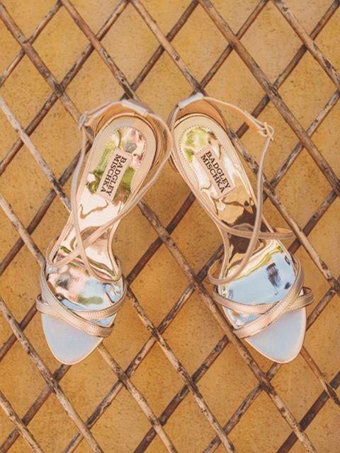 "<p>My wedding shoes were from<a href=""http://www.badgleymischka.com/"" target=""_blank"">Badgley Mishchka</a>.</p>"