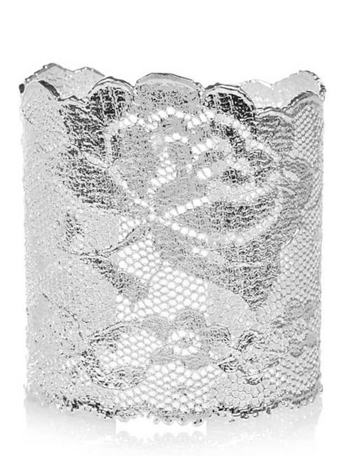 <p>Aurelie Bidermann silver-dipped lace cuff, £625, available from Net-A-Porter</p>