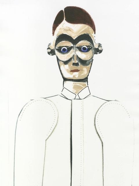<p>Alice Bastin's sketch of the tailored men's plunge coat she designed in collaboration with Bally</p>