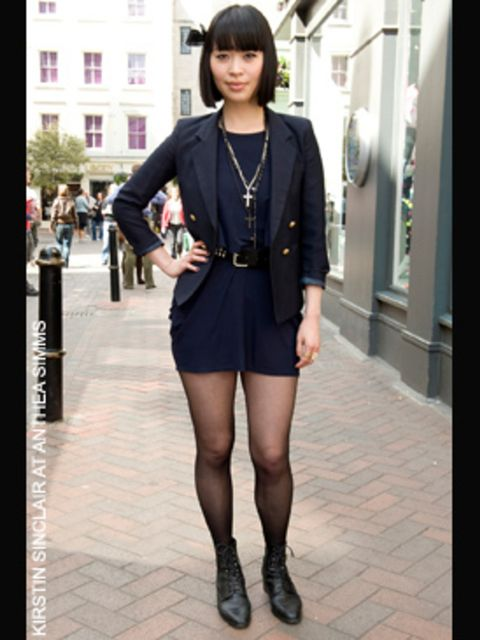 <p>Heidi, Fashion Student from California</p><p>- <strong>Jacket</strong> from a thrift store</p><p>- ,<strong>Dress</strong> <strong>boots and jewellry</strong> from Topshop</p><p>- <strong>Hair bow</strong> - she made it herself</p>
