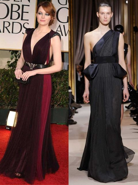 <p>Emma Stone in Lanvin at the Golden Globes, and look 25 from the Giambattista Valli couture show.</p>