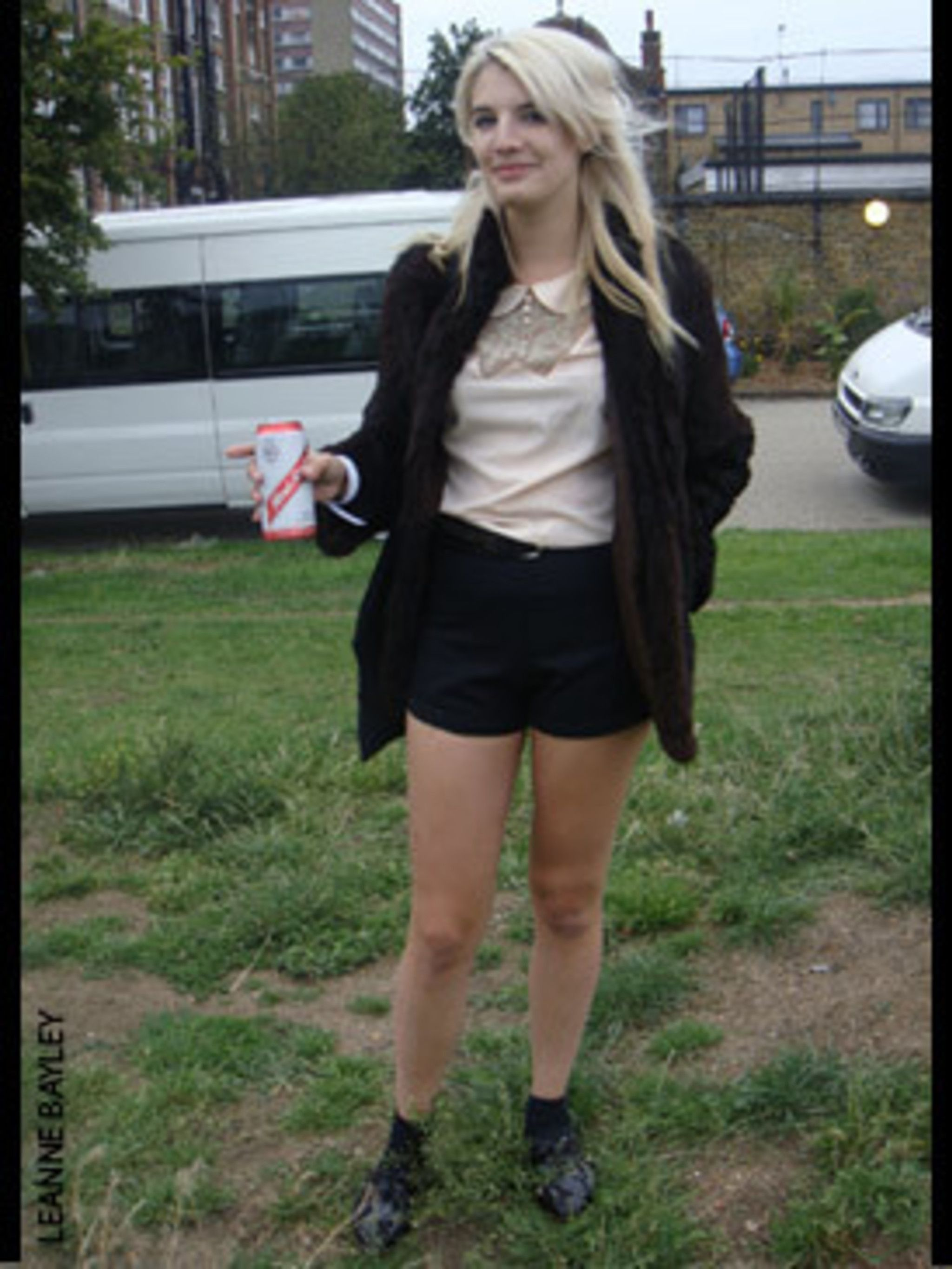 <p>Jess Gladstone, 21, Wearing a blouse, jacket and shorts which are all vintage and shoes by Topshop.</p>