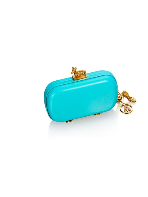 """<p><a href=""""http://www.hm.com/gb/anna-dello-russo"""">ADR for H&amp&#x3B;M</a> turquoise and gold clutch, £34.99, for stockists call 0844 736 9000</p>"""