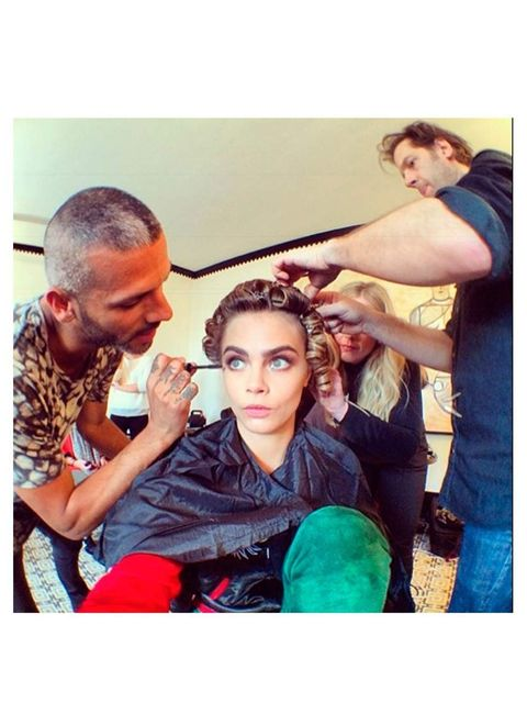 """<p><a href=""""http://instagram.com/caradelevingne"""">@caradelevingne</a>: </p><p>#metballfirstlook </p><p>#metball </p><p><a href=""""http://instagram.com/makeupvincent"""">@makeupvincent</a> </p><p><a href=""""http://instagram.com/petergrayhair"""">@petergrayhair</a> </"""