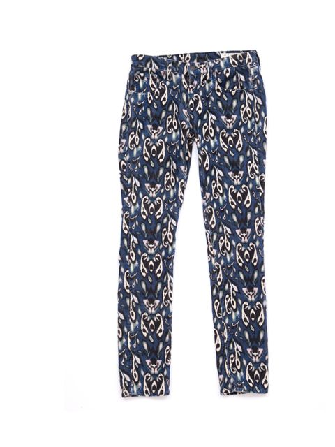 <p>Ok, so they're a little bit out-there but layered with a silk shirt and bomber they take your eveningwear in a whole new direction... Rag &amp; Bone printed jeans, £170, for stockists call 020 7730 4554</p>