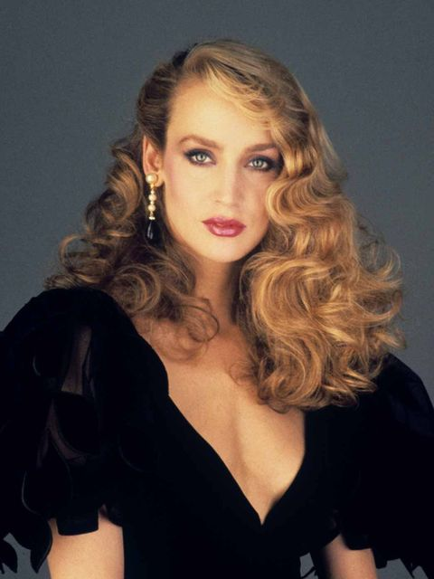 <p>A portrait of Jerry Hall in 1979</p>