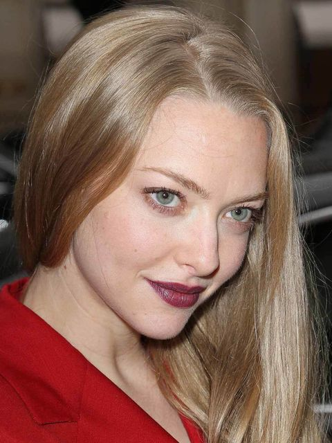 """<p><strong>Amanda Seyfried</strong></p><p>Amanda Seyfried looked sultry and chic with her <a href=""""http://www.elleuk.com/elle-tv/beauty-school/beauty-school/beauty-school-romantic-goth"""">Romantic Goth</a> lip. The perfect red wine shade to complement her f"""