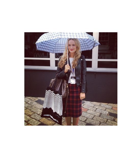 <p>Keeping dry with a Marc Jacobs brolly on a very rainy day at LFW</p>