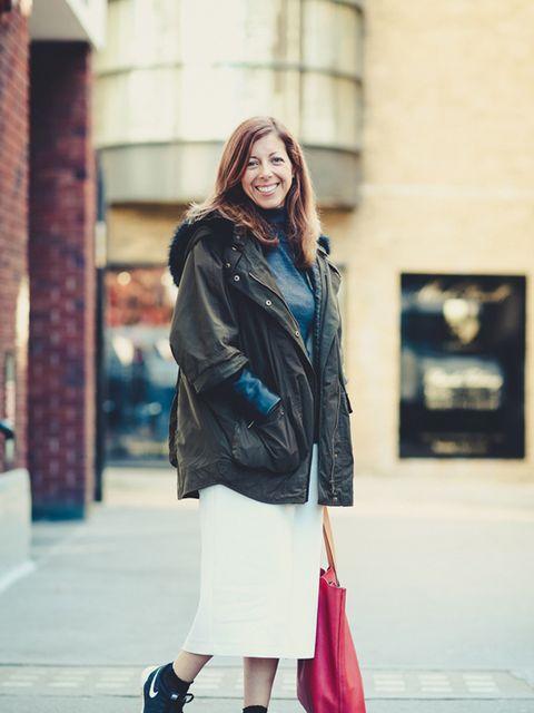 <p>Kirsty Dale - Executive Fashion Director</p>  <p>Zara coat, John Smedley jumper, Zara skirt, Topshop socks, Nike trainers, Gap bag.</p>