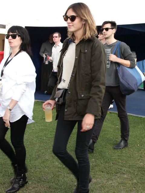 <p>Alexa Chung wearing a Barbour jacket </p>