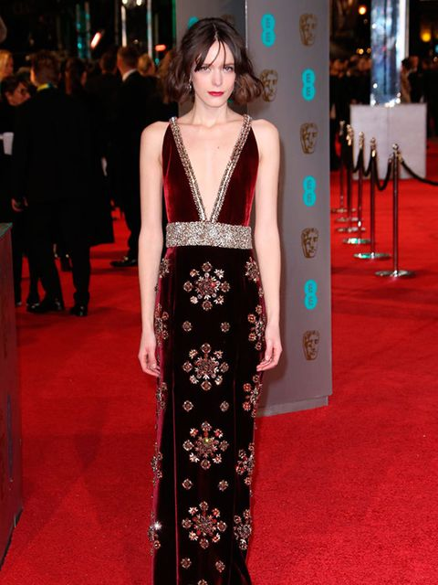 Stacy Martin attends the EE BAFTA British Academy Film Awards in London, February 2016.