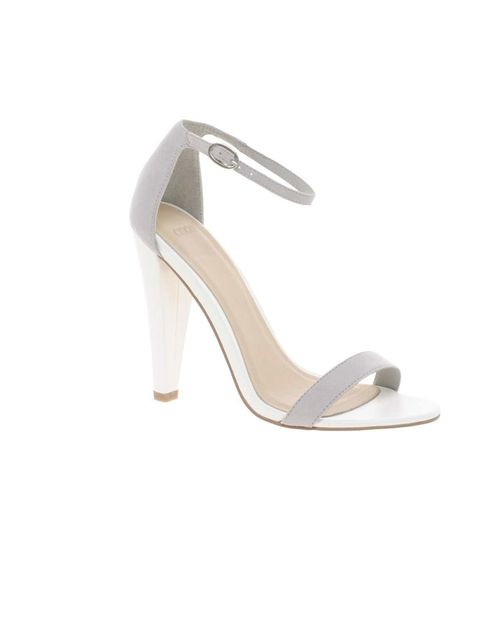"<p><a href=""http://www.asos.com/ASOS/ASOS-HOLLYWOOD-Heeled-Sandals/Prod/pgeproduct.aspx?iid=2599923&cid=4172&sh=0&pge=0&pgesize=20&sort=-1&clr=Grey%2Fwhite"">Asos</a> sandals, £42</p>"