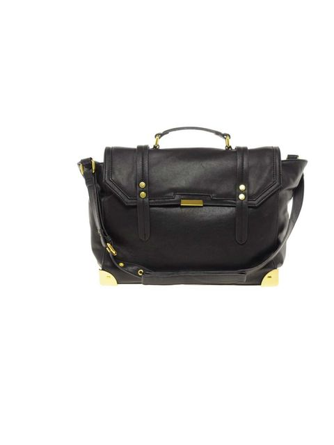 "<p><a href=""http://www.asos.com/ASOS/ASOS-Satchel-Bag-With-Metal-Corners/Prod/pgeproduct.aspx?iid=2556846&cid=11022&sh=0&pge=0&pgesize=-1&sort=-1&clr=Black"">Asos</a> satchel, £40</p>"