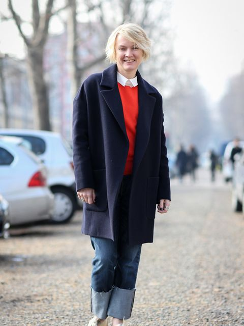 <p>Lorraine Candy – Editor-In-Chief</p>  <p>Raey coat, M&S jumper and shoes, and Roksanda trousers.</p>