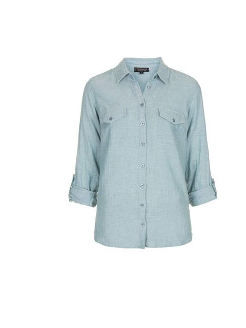 "<p>Don't be afraid of double denim. Mix chambray shades with indigo.</p><p>Like this shirt from <a href=""http://www.topshop.com/webapp/wcs/stores/servlet/ProductDisplay?searchTerm=chambray+shirt&amp&#x3B;storeId=12556&amp&#x3B;productId=11204028&amp&#x3B;urlRequestType="