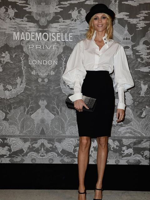 Anja Rubik attends the Chanel Mademoiselle Prive exhibition at the Saatchi gallery in London, October 2015.