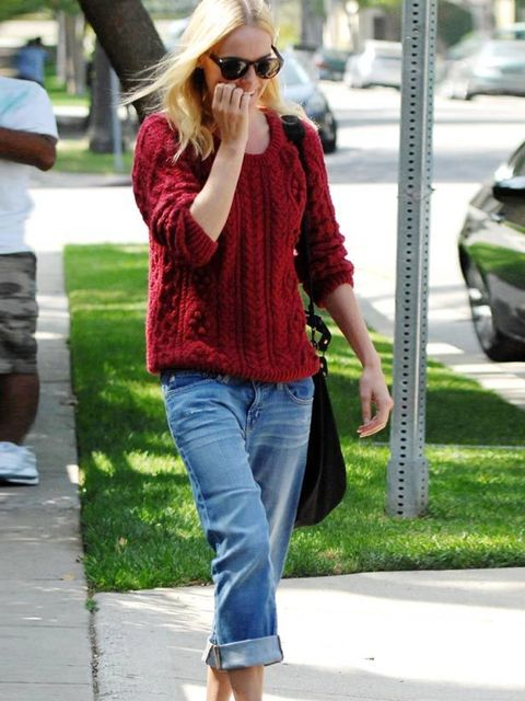 "<p><a href=""http://www.elleuk.com/starstyle/style-files/(section)/kate-bosworth"">Kate Bosworth</a> works an off-duty LA look in a cable knit sweater and boyfriend jeans</p>"