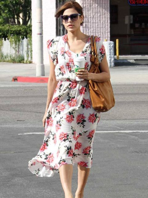 """<p><a href=""""http://www.elleuk.com/content/search?SearchText=eva+mendes+&SearchButton=Search"""">Eva Mendes</a> wearing a flirty Free People dress while shopping in LA</p>"""