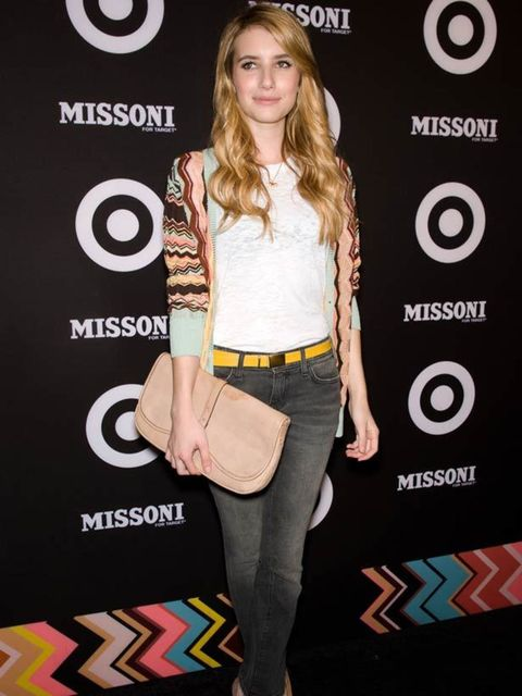 "<p><a href=""http://www.elleuk.com/starstyle/style-files/(section)/emma-roberts"">Emma Roberts</a> teaming her nude clutch with a <a href=""http://www.elleuk.com/catwalk/collections/missoni/"">Missoni</a> cardiga, skinny jeans and heels</p>"