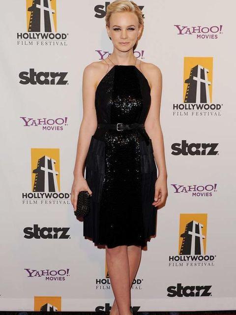 "<p><a href=""http://www.elleuk.com/starstyle/style-files/(section)/carey-mulligan"">Carey Mulligan</a> opted for a halter-neck embellished <a href=""http://www.elleuk.com/catwalk/collections/bottega-veneta/"">Bottega Veneta</a> dress teamed with <a href=""http"