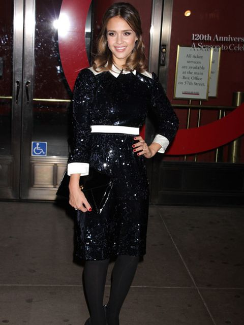"""<p><a href=""""http://www.elleuk.com/starstyle/style-files/(section)/jessica-alba"""">Jessica Alba</a> paired her <a href=""""http://www.elleuk.com/catwalk/collections/tory-burch/"""">Tory Burch</a> sequin dress with <a href=""""http://www.elleuk.com/content/search?Sear"""