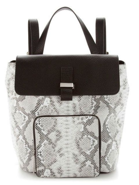 "<p><a href=""http://www.whistles.com/women/accessories/bags/portland-snake-backpack.html?dwvar_portland-snake-backpack_color=Black%20and%20White#start=1"" target=""_blank"">Whistles</a> Backpack, £295</p>"