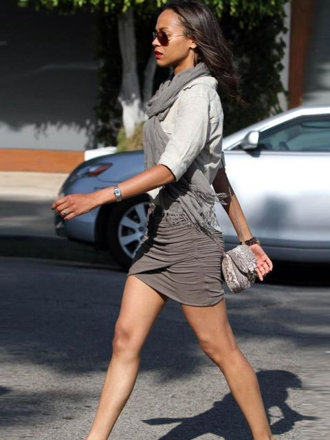 "<p><a href=""http://www.elleuk.com/content/search?SearchText=zoe+saldana&amp&#x3B;SearchButton=Search"">Zoe Saldana</a> complementing her taupe skirt and wedges with a <a href=""http://www.elleuk.com/catwalk/collections/derek-lam"">Derek Lam</a> <a href=""http://ww"