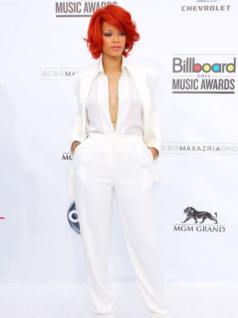 "<p><a href=""http://www.elleuk.com/starstyle/style-files/(section)/rihanna"">Rihanna</a> wearing a crisp white <a href=""http://www.elleuk.com/catwalk/collections/max-azria/"">Max Azria</a> suit to the <a href=""http://www.elleuk.com/news/fashion-news/beyonce-"