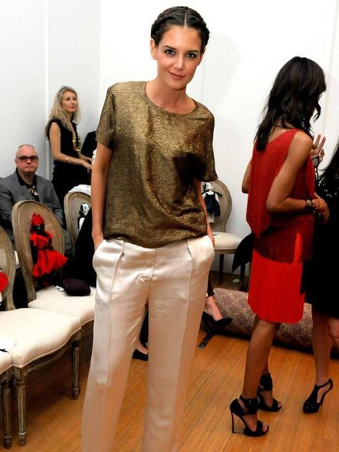 "<p><a href=""http://www.elleuk.com/starstyle/style-files/(section)/Katie-Holmes"">Katie Holmes</a> teams her <a href=""http://www.elleuk.com/catwalk/collections/lanvin/"">Lanvin</a> top with her silk trousers at the 'Rendez Vous with Alber Elbaz' at Carondele"