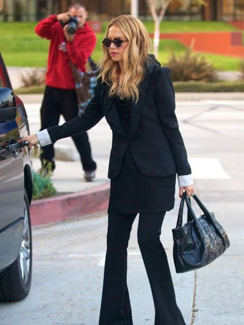 """<p><a href=""""http://www.elleuk.com/content/search?SearchText=rachel+zoe&SearchButton=Search"""">Rachel Zoe</a> wears a suit from her own collection out & about in LA, November 2011</p>"""