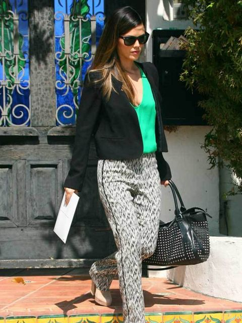 "<p><a href=""http://www.elleuk.com/starstyle/style-files/(section)/Rachel-Bilson"">Rachel Bilson</a> steps out in her signature downtown cool with printed trousers paired with a cropped blazer in LA, November 2011</p>"